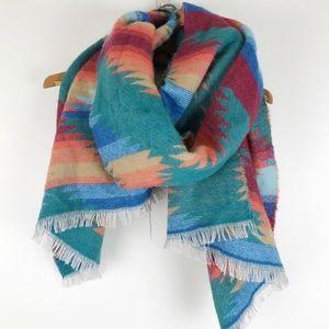Southwest blanket scarf rainbow acrylic